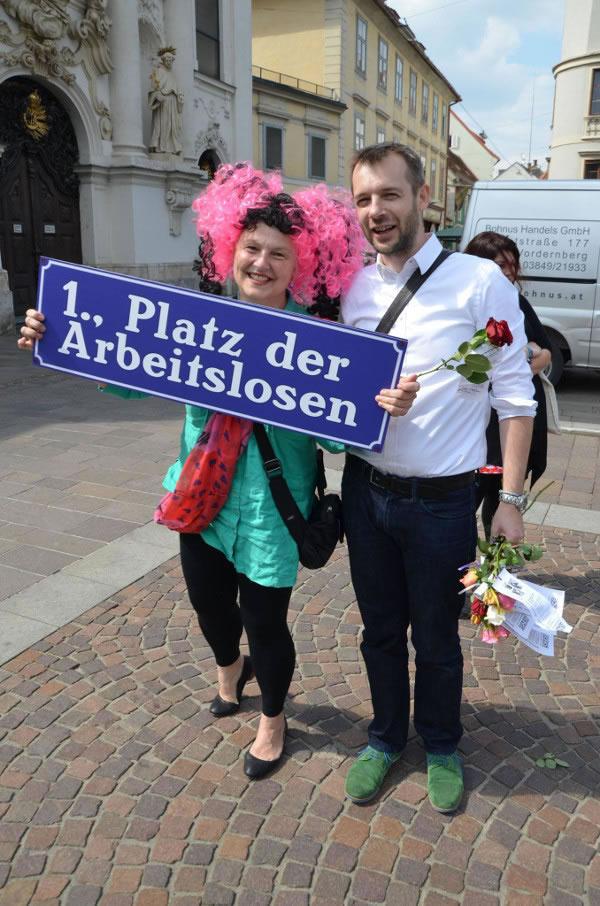 Betty Baloo am Tag der Arbeitslosen 2014 in Graz Mariahilfer Platz